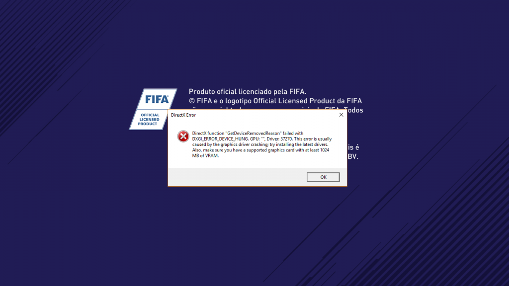 Ошибка DirectX FIFA 18